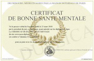 certificat santé au travail